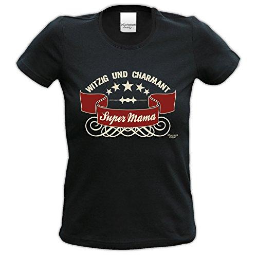 Super Mama Damen-Teenager-Girlie-Fun-T-shirt für die liebste Mutter als Top Geschenk - Farbe: schwarz Schwarz