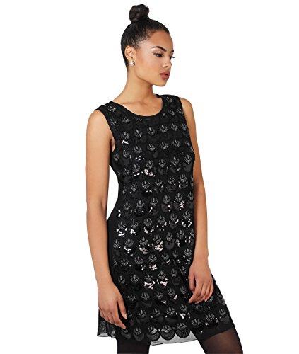 KRISP Damen 20er Jahre Kleid Pailetten Muster Silber Bodyshaper Ohne Ärmel (Gatsby Film Kostüm)