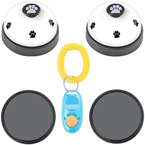 Cizen 2 Pieces Pet Training Bells, Dog Interactive Toys, Cat Doorbells, Ideal Potty Training and Communication Device(White)