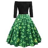 Damen Elegant Kleid Langarm A-Linie Aus der Schulter Vintage Kleider Grünes Klee-Retro Kleid St. Patrick's Day Kleid