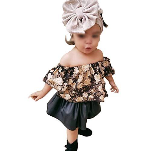 Shawnlen Kleinkind Säugling Neugeborenes Baby Outfit Set Blumendruck Schulterfrei Tops + Elastische Taille Rüsche Faltenrock Kleidung Set 2 Stück für 0,5-4 Jahre (6-12 Monate, schwarz) -