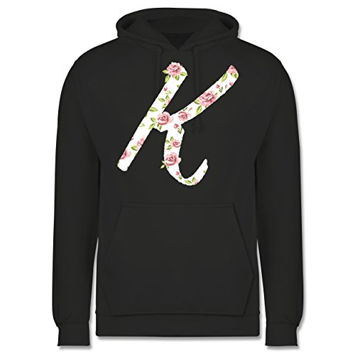 Anfangsbuchstaben - K Rosen - Männer Premium Kapuzenpullover / Hoodie Dunkelgrau