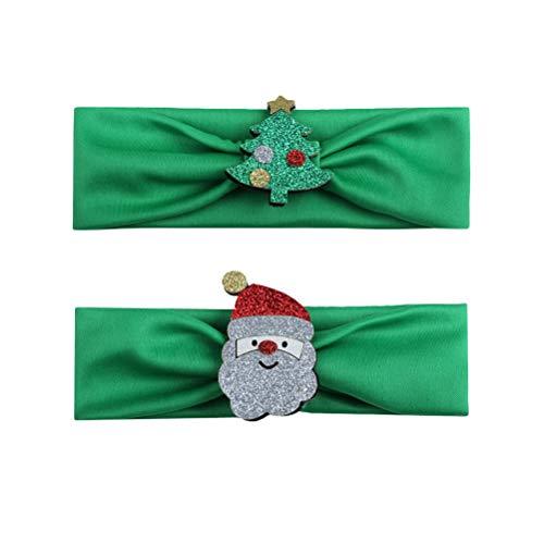 Baby Mädchen Weihnachten Stirnbänder mit Weihnachtsbaum Weihnachtsmann Säuglingshaarbänder Zubehör (Grün) ()