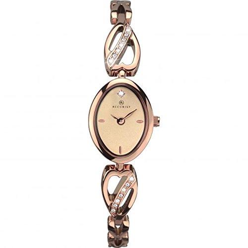 Accurist–Reloj, correa de acero inoxidable color oro rosa reloj con esfera de oro rosa 8085RRP £149