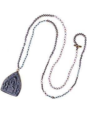 KELITCH Damen Näturlich Perlen Lang Halskette Handmade Buddha Anhänger Bib Halskette