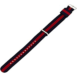 Daniel Wellington Oxford Silver Men's Multicolour Nylon Buckle Watch Strap with Pin of 20 mm 0401DW