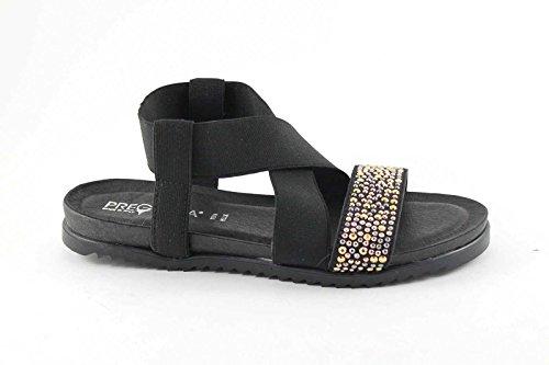Pregunta IG8971 Femme Noire Chaussures Sandale en Cuir Paillettes Élastique Paillettes Nero