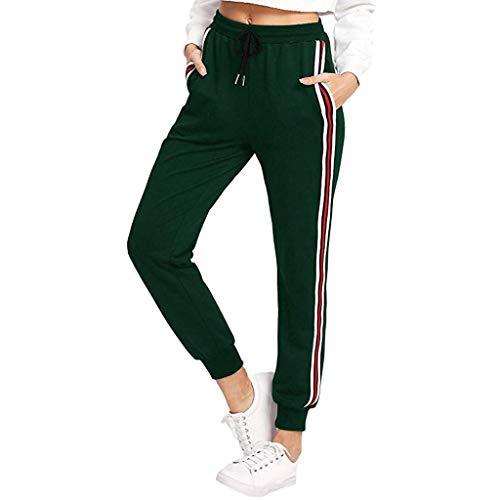 Fenverk Damen Sweathose Mit BüNdchen Yoga-Hose Classic Sportlich Leggins Seitenstreifen Knoten Hosen Hohe Taille Gestreifte Tunnelzug Taschen Leggings Capris Pants(Grün,XL) -