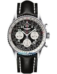 Breitling navitimer cosmonaute/reloj para hombre y esfera negro y caja acero/correa piel negra