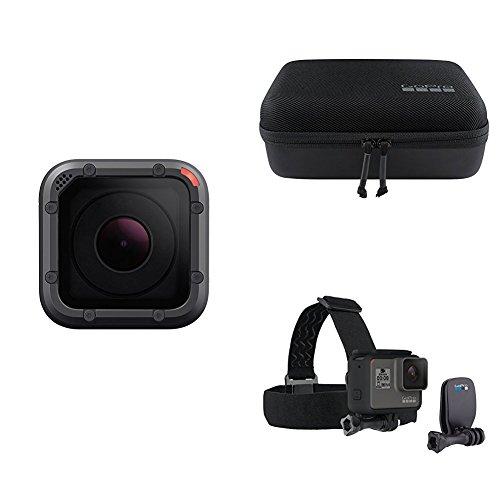 Kit GoPro Hero5 Session - Cámara de 10 MP (4K, 1080 p, 720 p, WiFi) color gris y negro + GoPro Headstrap & QuickClip (Pack de accesorios) + GoPro Casey (Estuche)