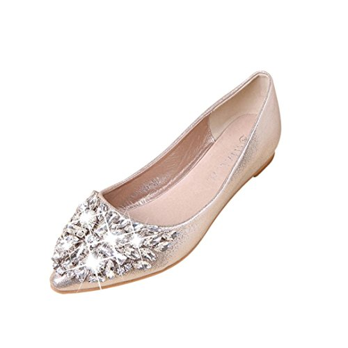 FNKDOR Damen Geschlossene Ballerinas Flache Pumps Strass Schuhe Klassische Damenschuhe(36,Gold)