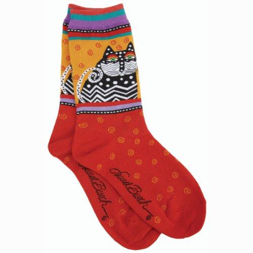 laurel-burch-socks-polka-dot-cats-red