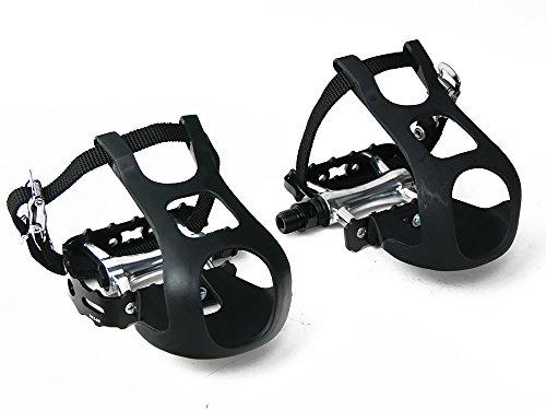 Wellgo Fahrrad Pedale geschlossenes Kugellager mit Kunststoffhaken und einfachem - Riemen Pedal
