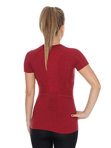 BRUBECK® SS11700 ACTIVE WOOL Damen Shirt | Merino | Funktional | Sport | Fitness | Funktionswäsche | Unterhemd Burgund