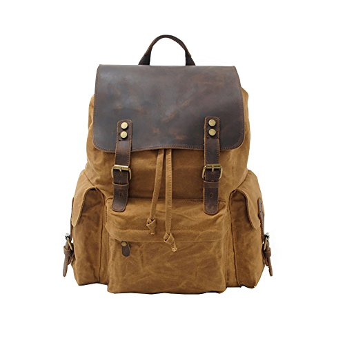 VRIKOO Vintage Canvas Leather 15.6