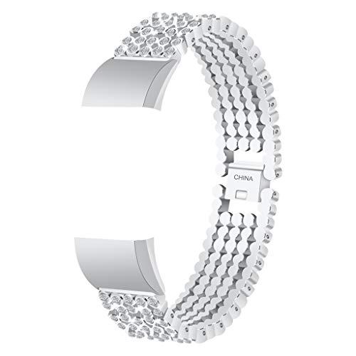 Knowin Uhrenarmband Ersatz Edelstahl Armbänder Uhrenarmband WristStrap Für Fitbit Charge 2 Uhrenarmbänder Faltschließe Uhr Armband Smart Watch Wrist Strap Band Diamond X Kettenkreuzriemen