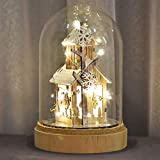 Valery Madelyn Adornos de Navidad Luz Cúpula de Cristal de Santa, 8.7in/20cm LED Decoraciones Luz de Navidad para Mesa con Cabaña de Madera Nieve (Bosque)