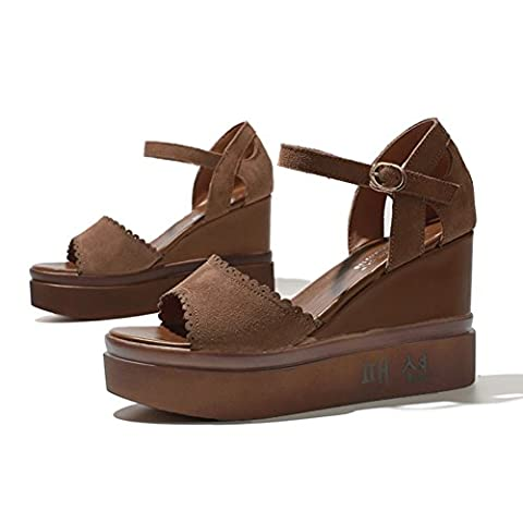 lady , summer , wedge sandals / peep-toe , thick-soled , high heels , une bande de sandales -B Longueur du pied=21.8CM(8.6Inch)