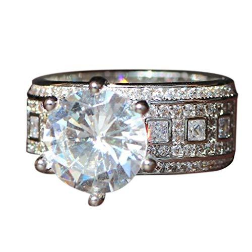 Damen Persönlichkeit voller Diamant mit großen sechs Klauen großen Zirkonia Diamant Ring für Hochzeit Bar Full Diamant Zirkon Ring Schmuck Cosplay Halloween Kostüm