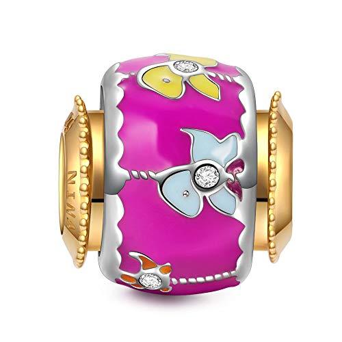 NINAQUEEN Bead Charm ~ Ragazza vivace ~ Argento Sterling 925 Smalto Squisita con Confezione Regalo per Bracciale Charms