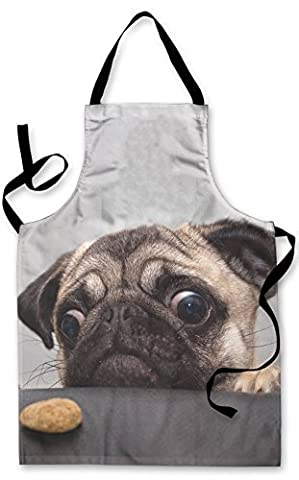 PUG DOG WITH BISCUIT DESIGN APRON KITCHEN BBQ COOKING PAINTING MADE IN YORKSHIRE