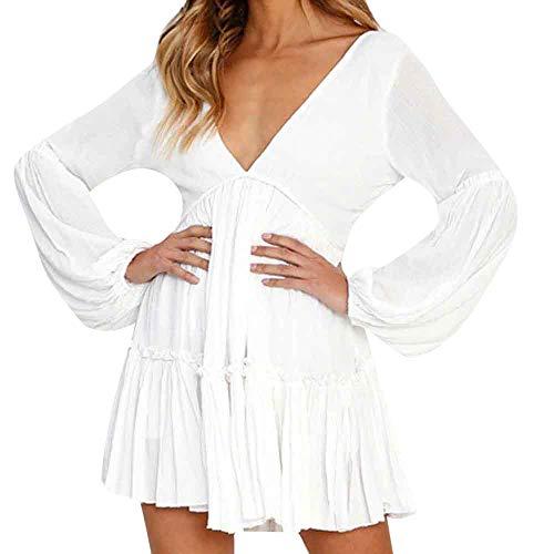 Elecenty Rüschenkleid Midikleid Damen,Reizvolle Frauen Swing-Kleid Tief V-Ausschnitt Abendkleid...
