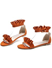 SHFANG shoes Damen Sandalen/Lotusblatt/Flache Basis Nationalen Sandalen Komfort/Eleganz 1cm 31-42