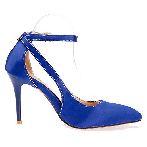 AgooLar Femme Couleur Unie Matière Souple à Talon Haut Boucle Pointu Chaussures Légeres Bleu