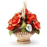 Cestino di rose in porcellana fatto a mano in stile Capodimonte