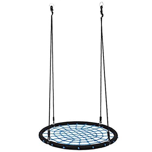 Schaukel Outdoor Creine Nestschaukel Tellerschaukel Rund Kinderschaukel, 100cm, bis 150 kg Belastbar, für Garten, Hof (Blau)