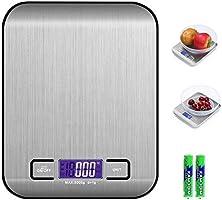 QUNPON Digitale Elektronische Küchenlebensmittelwaage, Küchenwaage mit LCD Display-wunderbare Präzision auf bis zu 1g(5kg...