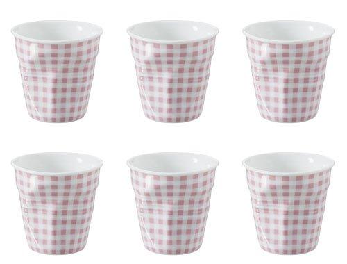 REVOL Froisses Set de 6 Tasses à Expresso, Vichy Rose