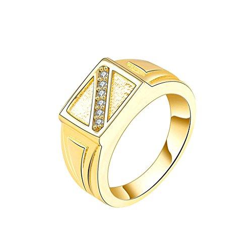 Daesar Gioielli Placcato Oro Anelli Donna Anello di fidanzamento Liscio Piazza Striscia Anelli Perle Oro Anelli for Men Dimensioni:12