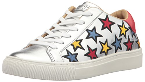 Skechers Damen Street-Star Side Embroid Sneaker, Mehrfarbig (Silver Leather/Multicolour Color Embroidered Star Trim), 41 EU (Frauen Schuhe Skecher Für Tennis)