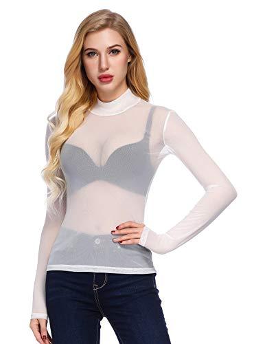 Weiß Sheer (Sommer Mädchen Langarm Netting Basic Unterhemd Transparent Sheer Rollkragen Tops Weiß 1151 XX-Large)