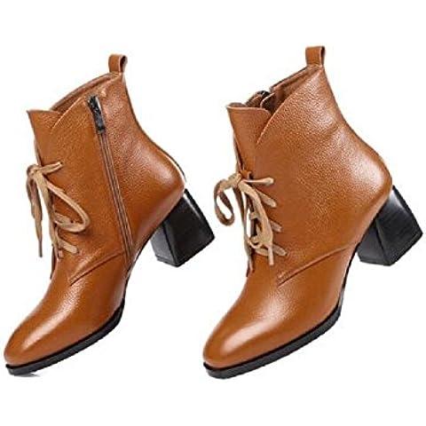 YYH Temperamento con arranque cordón cuero ocio mujeres Simple y delgado tobillo botas zapatos de algodón , brown ,