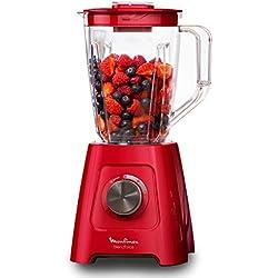 Moulinex LM420510 Blender Mixeur Électrique Blendforce Capacité 2L Smoothie Soupe Fruits Légumes Glace Pilée 600W Rouge