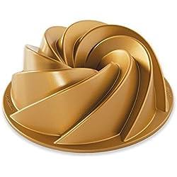 Nordic Ware–Molde concéntrico (con filigranen muescas, aluminio, Oro, 21,6x 21,6x 10,2cm