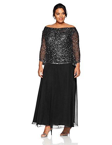J Kara Damen Plus Size Long Beaded Dress with Cowl Neck Kleid für besondere Anlässe, Black/Gun/Mercury, 14W - Cowl Neck Beaded Dress