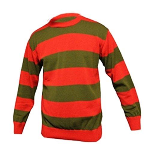 Wicked FunHerren Pullover, Gestreift, - Red & Green, M