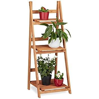 relaxdays wooden flower rack 5 shelves indoor plant stand multi tier hxwxd 125 x 81 x 25 cm. Black Bedroom Furniture Sets. Home Design Ideas
