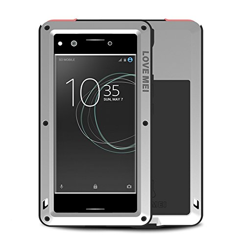 Price comparison product image Fonrest Sony Xperia XZ Premium Case,  Love Mei 5.5-inch Powerful Heavy Duty Hybrid Aluminum Metal Armor Shockproof Snowproof Dirtproof Cover Shell with Tempered Glass (Silver)