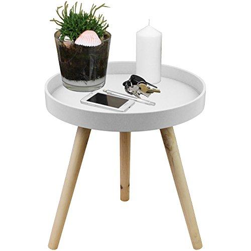 Couchtisch Kaffeetisch Ø40x46cm Matt-Weiß - Holztisch aus Holz mit praktischer Kante Beistelltisch