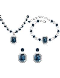 MARENJA Cristal-Conjuntos de Collar Pulsera y Pendientes Mujer Cuadrado Chapado en Oro Blanco Cristal Azul Marino