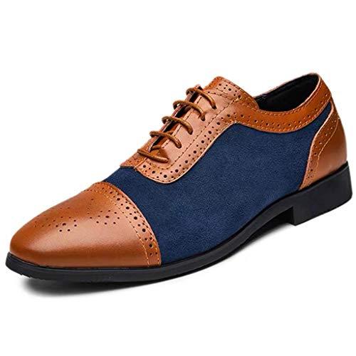 Skxinn Herrenschuh Herren klassischer Business-Halbschuh aus Kunstleder mit Gummisohle Freizeit Schuhe Halbschuhe Party Hochzeit übergrößen Gr 38-48(Blau,38 EU)