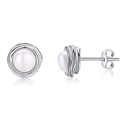 EVERU 925 Sterling Silber schöne Blume Ohrstecker, 5 verschiedenen Designs, Geschenke für Mädchen Frauen mit geschenkbox (Perlen) (Kleiderschrank Jeder Frau)