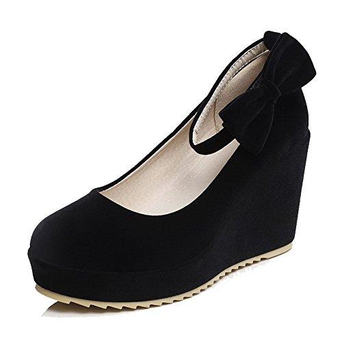 AllhqFashion Femme à Talon Haut Dépolissement Couleur Unie Velcro Rond Chaussures Légeres Noir