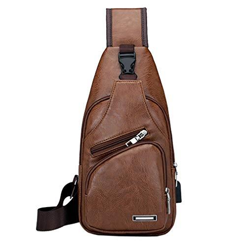 e062f56fa1d5 Xieben Vintage UP Leather Sling Chest Bag Crossbody Pack para Hombres  Mujeres Travel Outdoor Shoulder Messenger Pack Mochila Negro