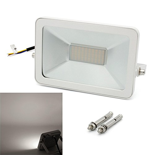 BAODE[Upgrade] LED Flutlichtstrahler 30W Kaltweiß 6000K Strahler Licht Scheinwerfer mit Dehnschrauben 3000lm, ersetzt 180W Leuchtstoffröhre, Ultraslim LED Fluter Außen Baustrahler IP65 Wasserdicht Flutlicht