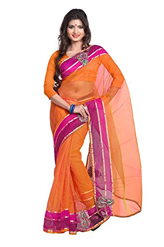 Florence Embroidered Saree (Fl-2107_Orange)